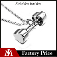 Womens Stainless Steel Dumbell Charm Bodybuilder Pendant Fitness Necklace Jewelry
