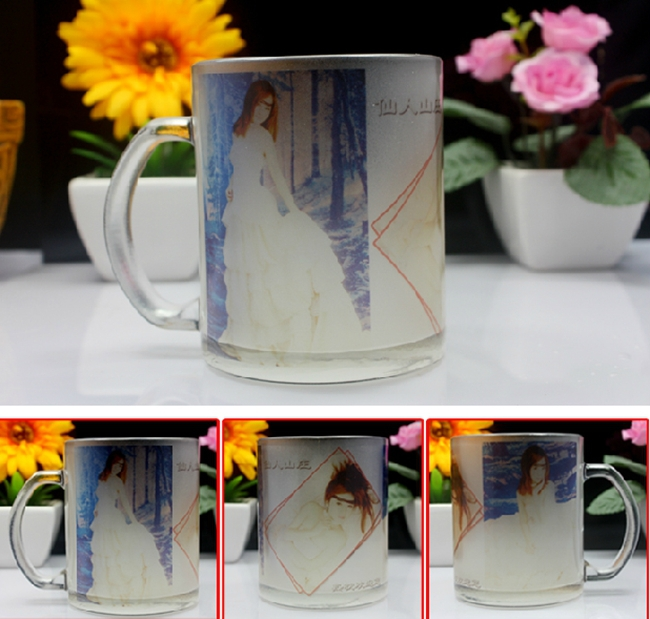 A grade sublimation coated frosted glass mug