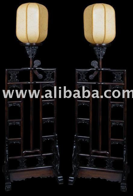20th Century Chinese Carved Wood Light Stands
