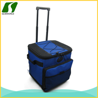 600D Material and Insulated trolley picnic aluminium foil cooler bag with wheels