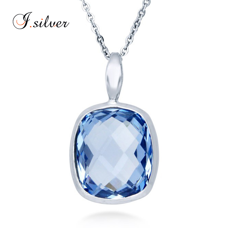 925 Sterling Silver jewelry with Blue CZ gemstones Checkerboard Pendant P50117