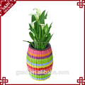 Wholesales handwoven PP plastic office flower pot for office and garden