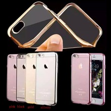 "Luxury Electroplating TPU bumper Case For iPhone 6 S 6S 4.7"" Brand with transparent Back Cover"