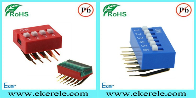 Red /Blue 4 Position Dip Switch Right Angle Bent Pins