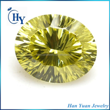 AAAAA 10x14mm olive color oval millenium cut cz gems