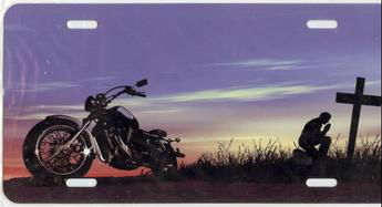 Motorcycle (Chopper) Praying Man Airbrush License Plate