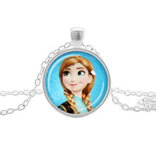 Girls New Fashion Ladies Long Chain Snow Queen Necklace Jewelry Glass Cabochon Princess Elsa Anna Pendant Necklace