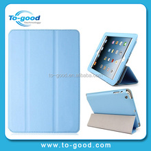 2014 New Products Blue Color Leather Foldable Cover Case For iPad2 3 4,Corner Protect Case For iPad