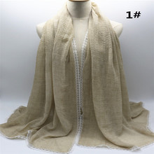 Newest Stylish Plain Cotton Muslim Scarf Hijab Shawls Long White Lace Floral Border Scarves Soft Handfeel