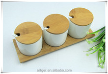 Elegant bamboo kitchenware set with White Ceramic spice jar