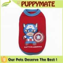 2016 New Design the Avengers patterns clothes for dogs/ Lovable dog clothes for sale/ cheap dog vest
