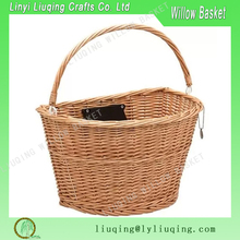 Removable Semicircle Wicker Bicyle Basket With Quick Release Bracket Wicker Handicraft Bicyle Basket With Handle