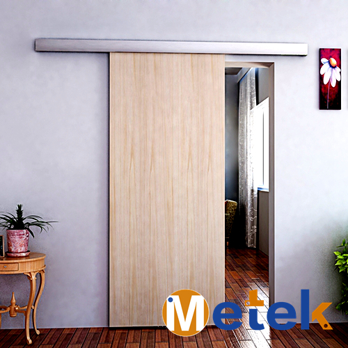 Aluminum sliding door system and barn door hardware bracket for wooden door