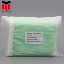 Free Sample lint free Microfiber & Polyester Tip Cleaning Swabs with Long PP Stick Handle