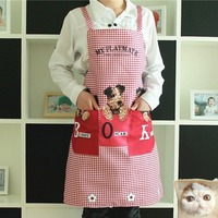 New Cute Vintage Plaid Womens Kitchen Bib Apron with Pocket Cooking Aprons Gift with good quality