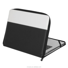 Mosiso Premium PU Leather Zipped Book Sleeve Cover for MacBook Air 13 inch / MacBook Pro 13 inch Black & White