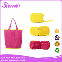 Fashionable and foldable polyester handbag shopping bag
