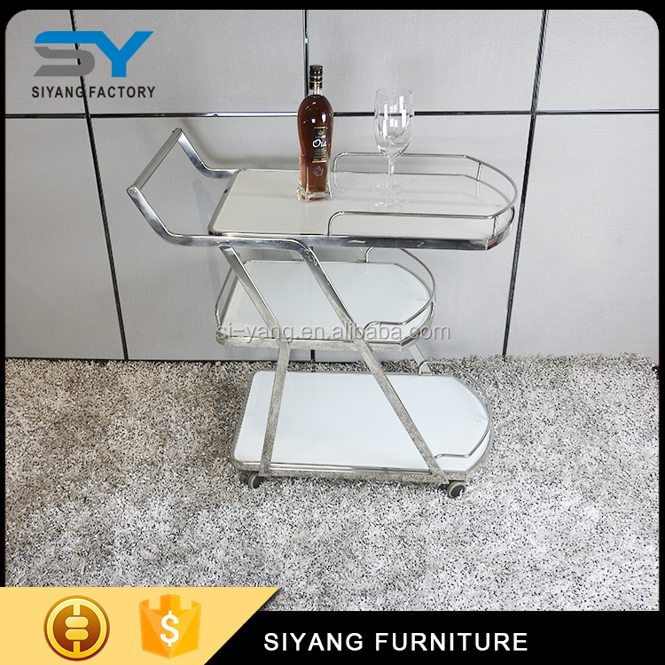 Restaurant furniture stainless steel dining trolley dining cart with wheel CC002