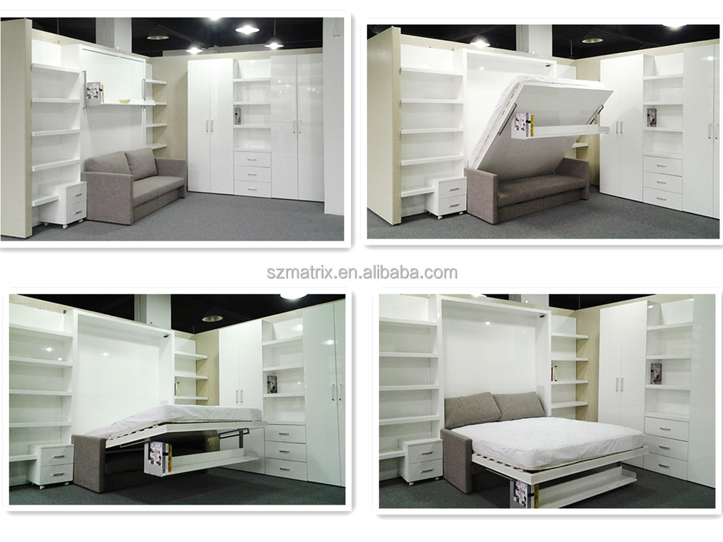 Fold Away Bed Transformable Bed Wall Bed With Study Table View Wall Bed With Desk Matrix Space