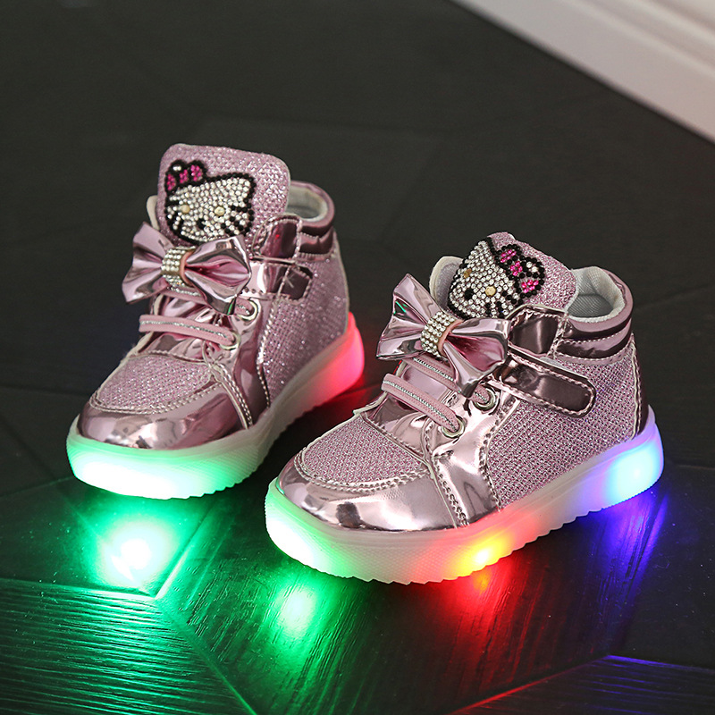 Kaifei Girls Shoes Cute Rhinestone Led Shoes With Children Lighted Sneaker