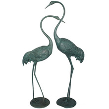 cast aluminum outdoor big bird Crane statue for garden decoration