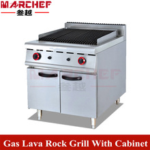 High Quality Free Standing Stainless Steel Gas Lava Rock Grill with Cabinet