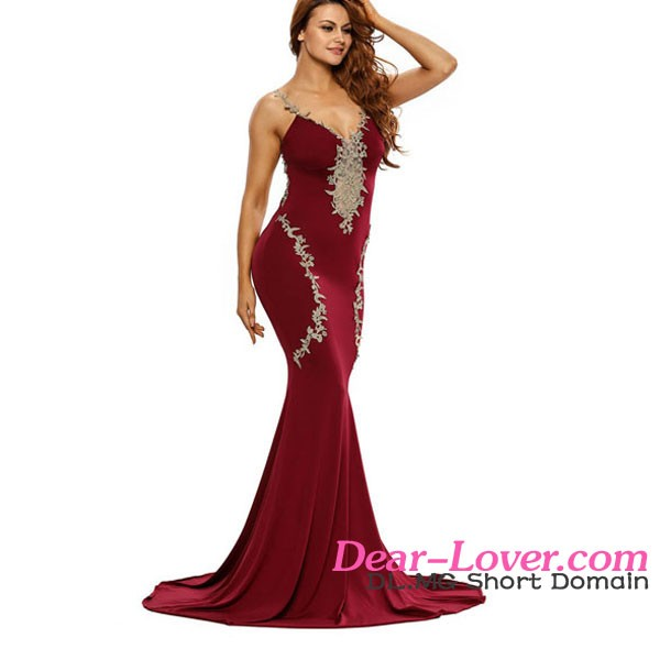 2017 Women Clothes Sexy Deluxe Lace Applique Burgundy Mermaid Party Gown Dress