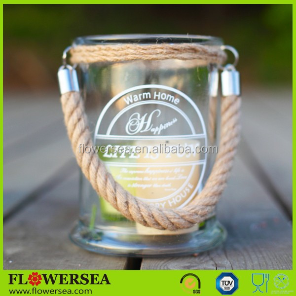 FLOWERSEA latest hot selling printed tall glass candle holders with rope handle for home decor and wedding conterpieces