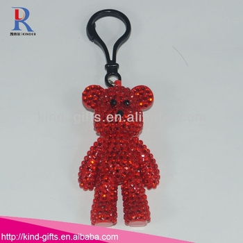 Customized High Quality Bling Crystal Teddy Bears Keychain