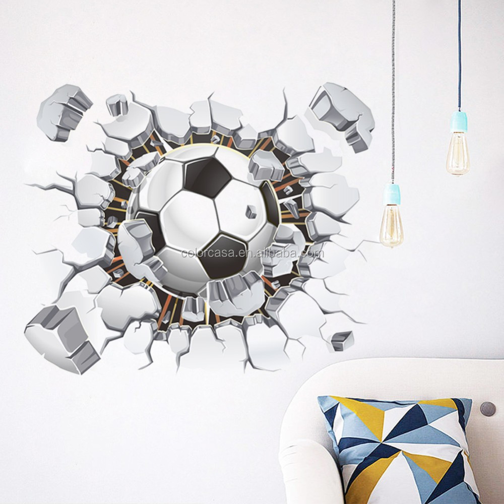 ColorcasaZYPA 1487 N 3D Football Wall Stickers Broken Wall Hole Home Decals  Kids Room