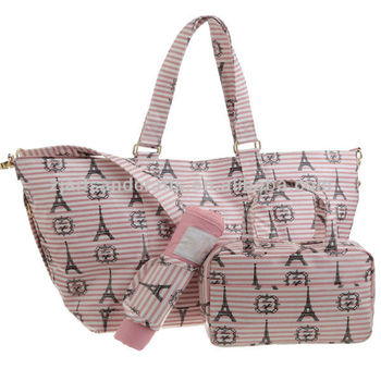 Lady's canvas coating beach bag with cosmetic bag set