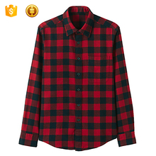 Mens Flannel Cotton Plaid Shirt Custom Woven Shirt