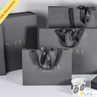 factory outlet OEM black gift paper bag with silk ribbon