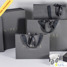 factory outlet OEM custom high quality black gift paper bag with silk ribbon handle