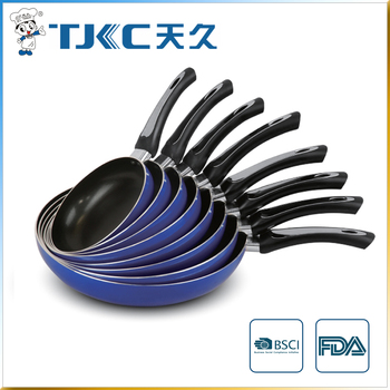 Blue Non-stick Fry Pan with s/s plate mounted handle