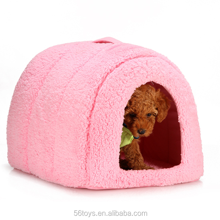Factory direct sale plush dog sleep bed dog house for small dog