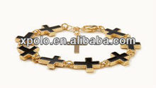 2014 newest expory black charm alloy faith and cross bracelet