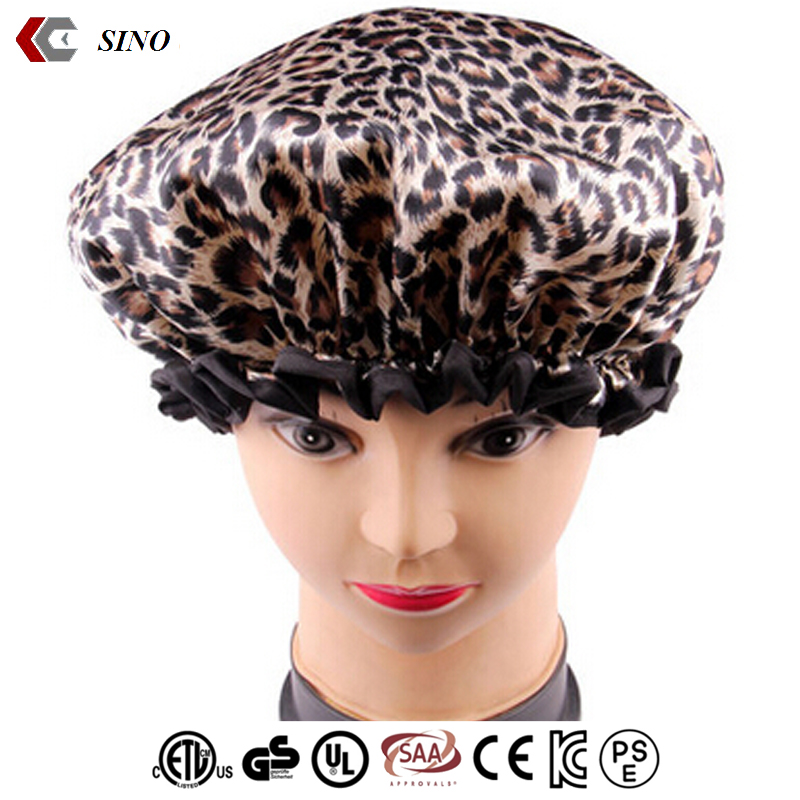 Women's Leopard print bath shower cap colorful customized design good quality Satin and EVA/PE double layer bouffant shower cap