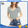 Plus size apparel women v neck criss cross front t shirt custom striped t shirt