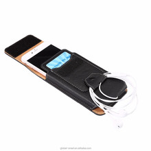 Belt clip man leather mobile phone multi function cover case with earphone holding clip
