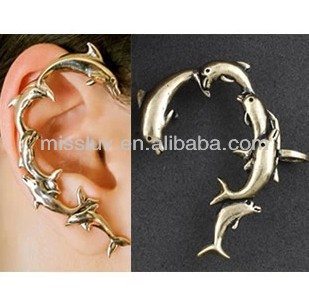 dolphin-shaped ear expansion, gothic style retro earrings, without pierced ears,personality ear hook ,animal,sea