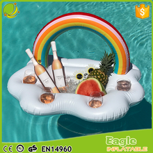 China big factory inflatable RAINBOW CLOUD FLOATING BAR float swimming pool bar flat double drink cooler with 4 cup holders