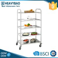 Premium Quality Stainless Steel Knocked-down Industrial Kitchen Trolley Mobile Breakfast Food Hotel Cart Used For Sale