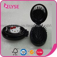 Folding oval plastic pocket hair brush comb with mirror