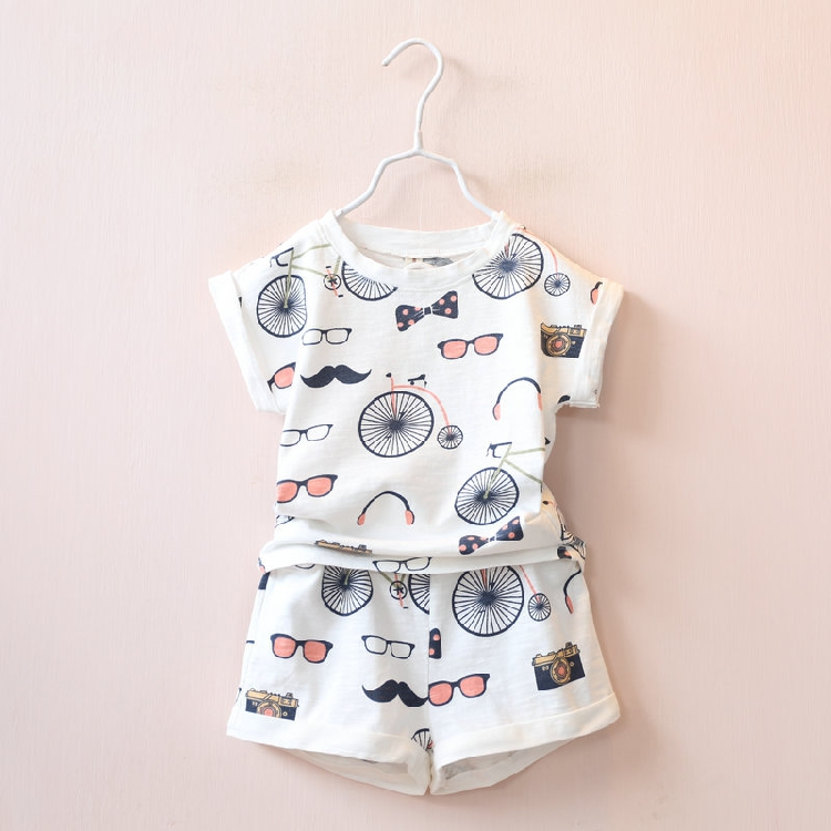 2017 Hot Sale 2 Pcs Boutique Cartoon Pattern Cotton Korean Summer Children Clothing Set