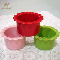 Round ceramic microwave pie dish and red casserole cup and bowls