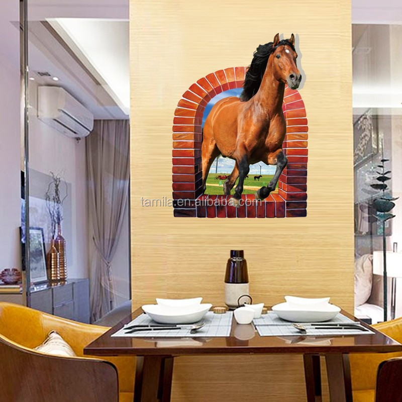 custom vinyl wall decals 3d window horse wall stickers adhesivos decora wallpaper mural