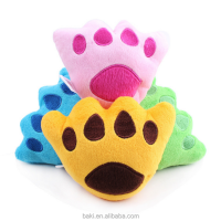 Wholesale Bear foot shape pet dog squeaky plush toys with sound