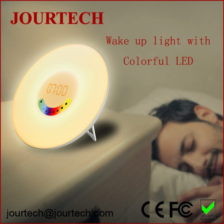 Simulation sunrise wake up light touch control led digital clock without battery