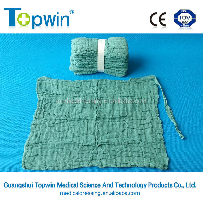 Heavy weight 100% cotton washed surgical lap sponge with or without x-ray tape or thread,sterile or not.